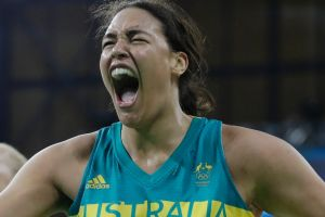 Australia centre Liz Cambage reacts after making a basket and receiving a foul.
