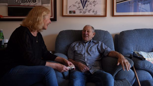 Keith Tremain, 81, talks with his daughter Sharon Bate in his serviced apartment at Glenaeon Retirement Village run by ...