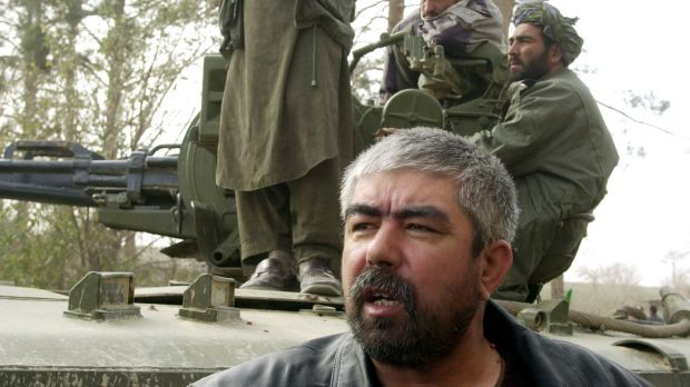 Abdul Rashid Dostum near Mazar-e-Sharif in northern Afghanistan in November 2001, when he and his men were fighting ...
