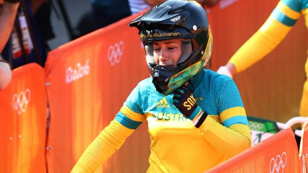 Tearful: Caroline Buchanan reacts after realising her Olympic dream is over.