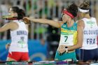 Chloe Esposito of Australia shoots during the running and shooting portion of the women's modern pentathlon. AP