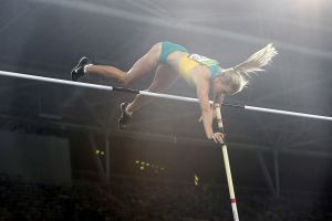 Fourth on count back: Alana Boyd in the pole vault final.