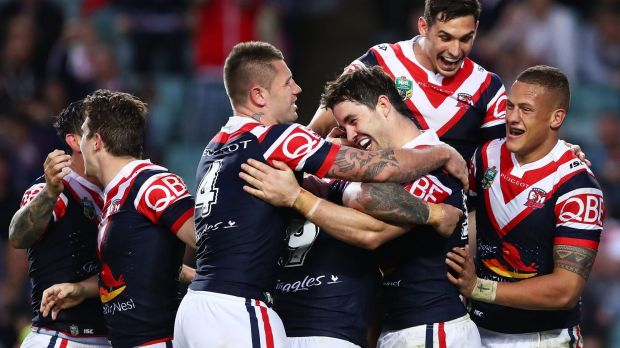 Nothing to lose: Aidan Guerra shares the joy after he added to the try tally.