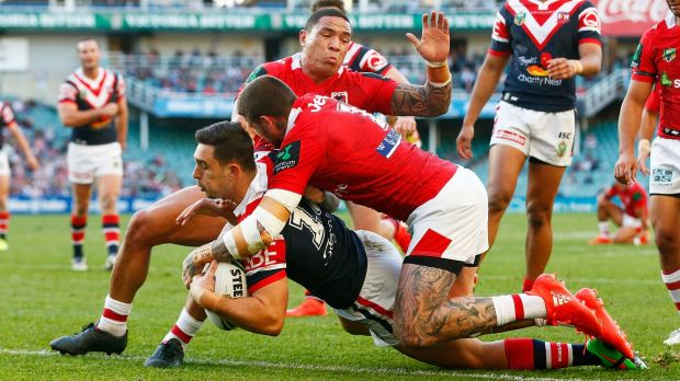 Rampant: Ryan Matterson crosses for the Roosters at Allianz Stadium.