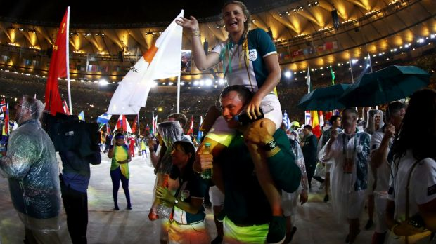Closing time: The Australian team enters for the Rio Olympics closing ceremony.