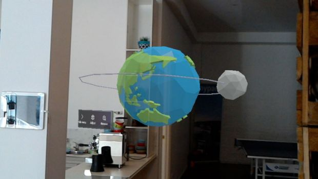 A model of the Earth and Moon which you can reach out and touch.