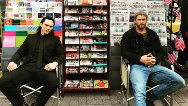 Thor actor Chris Hemsworth tweeted this photo of himself with Tom Hiddleston (Loki) from Brisbane's CBD during filming.