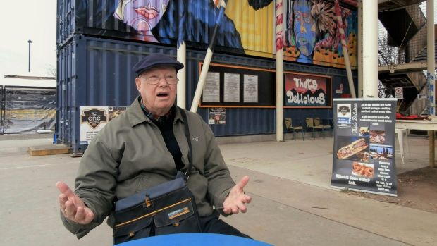 Tony Powell at the site of the 'incongruous' Westside container village last year.