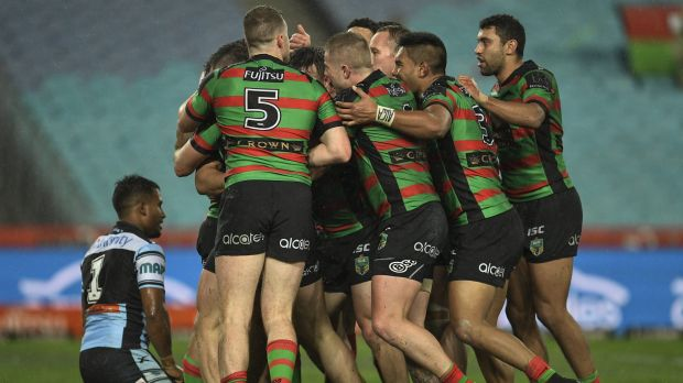 Bunnies boilover: South Sydney players celebrate during their win over Cronulla at ANZ Stadium.