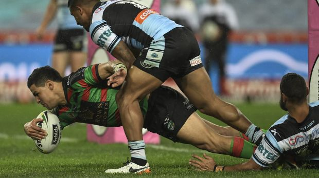 Cody's time to shine: Cody Walker scores a try during the round 24 NRL match between the South Sydney Rabbitohs and the ...