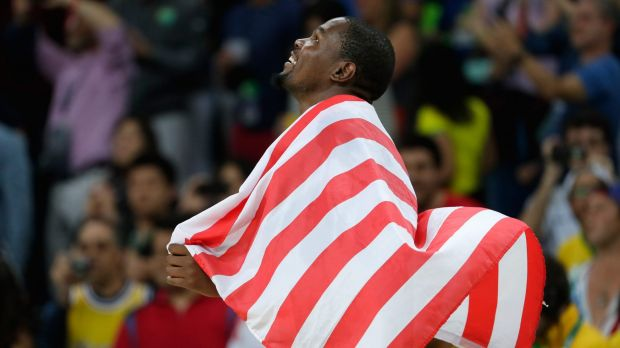 Proud: Kevin Durant celebrates after defeating Serbia during the men's gold medal game.