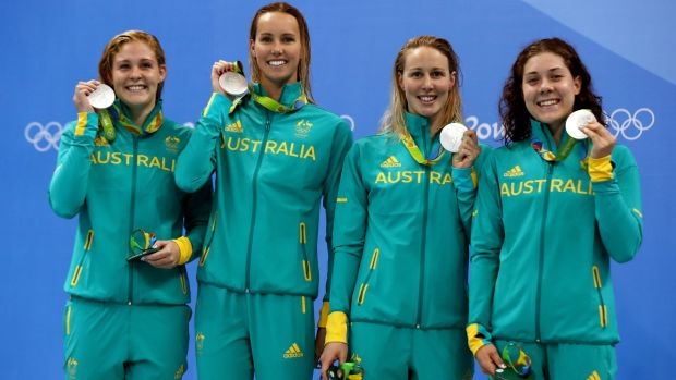 Health scare: Bronte Barratt (second from right) with Leah Neale, Emma McKeon and Tamsin Cook on the podium after the 4 ...