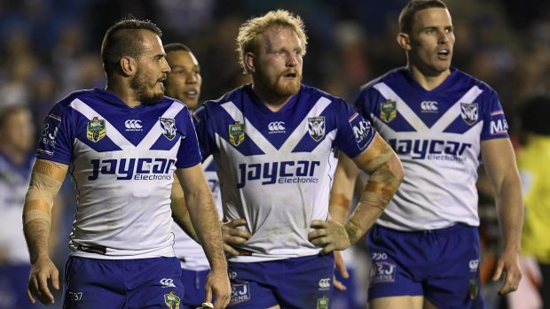 Kept on a tight leash: Bulldogs trio Josh Reynolds, James Graham and Tim Browne.