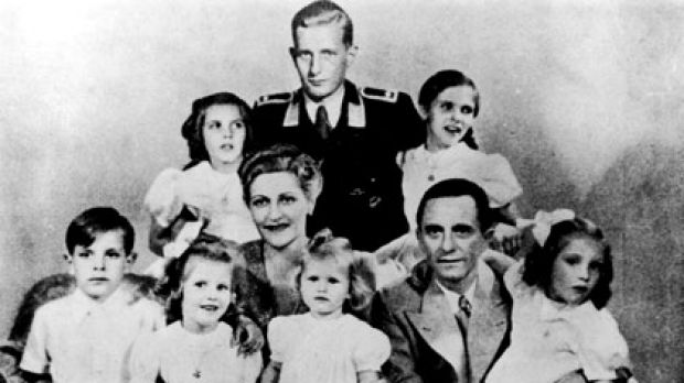Grisly fate... Magda and Joseph Goebbels and their children. At the back is Harald Quandt, Magda's first son from her ...