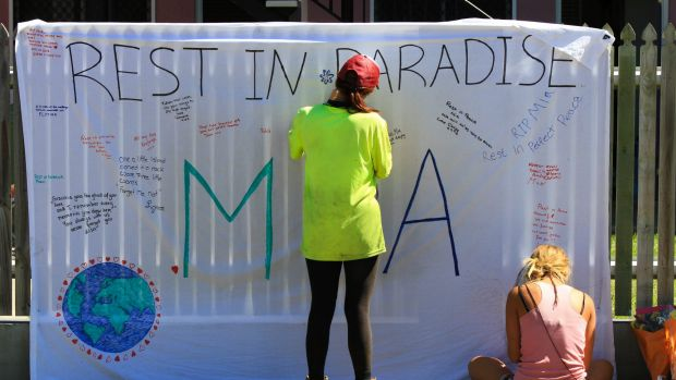 A tribute to Mia Ayliffe-Chung at the Home Hill Backpackers.