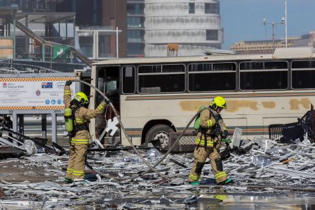 Firefighters take part in an emergency management exercise drill at Barangaroo last year dealing with a simulated air ...