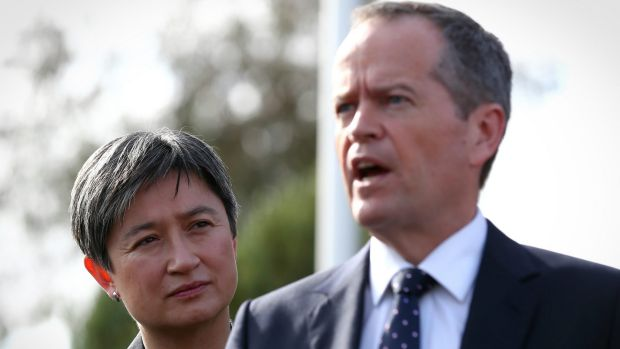 Opposition Leader Bill Shorten and Labor senator Penny Wong, who has argued strongly against the plebiscite and for ...