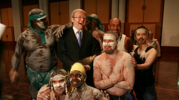 Then prime minister Kevin Rudd with performers at the Welcome to Country ceremony that began the opening of the 42nd ...
