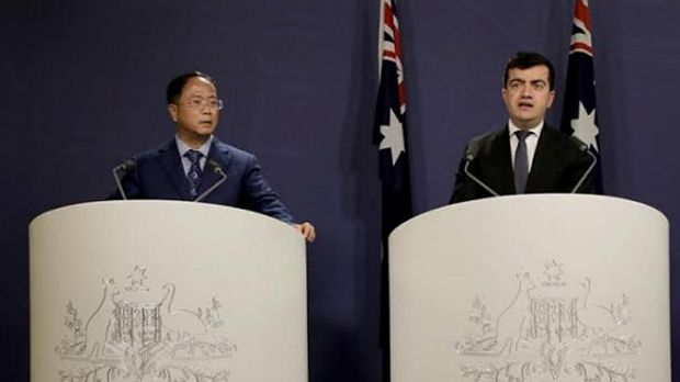 Huang Xiangmo and Sam Dastyari at a press conference for the Chinese community in Sydney.