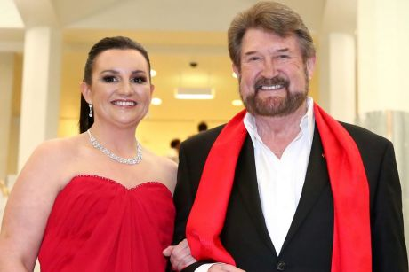 Senator Jacqui Lambie and Senator Derryn Hinch arrive for the Midwinter Ball last week.