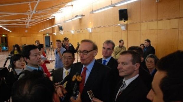 Dr Zhu with Gillard government foreign minister Bob Carr after being appointed to the Chinese Ministerial Consultative ...