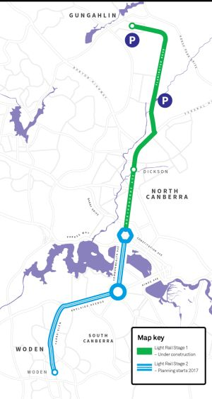 The planned light rail route to Woden, which the government has revealed as stage two of the network.
