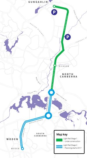 The planned light rail route to Woden, stage two of the network.