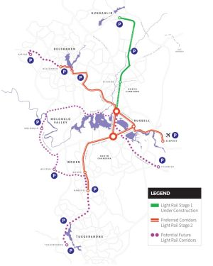The four light rail options for stage two, which were released by the government in July.