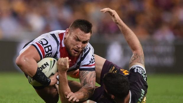 Jared Waerea-Hargreaves of the Roosters is tackled.