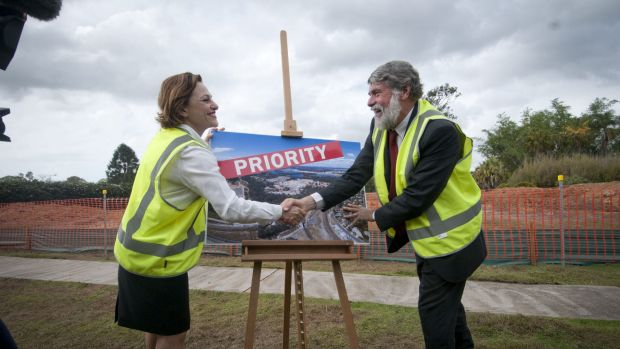 Deputy Premier Jackie Trad and Moreton Bay mayor Allan Sutherland announcing a priority development area at the old ...