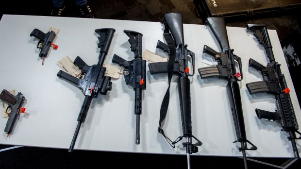 Guns seized in an international operation that ended in Melbourne last year.
