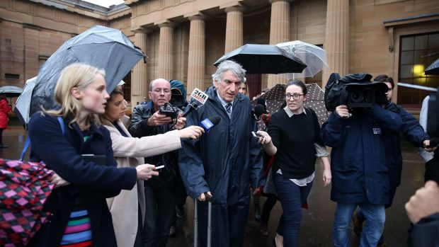 Rogerson's lawyer George Thomas speaks to the media after the sentencing on Friday.