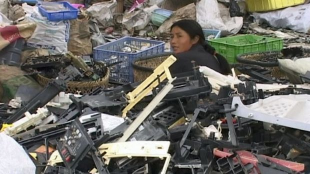 This screengrab from Sue Williams' documentary Death by Design shows the rudimentary nature of e-waste recycling in China.