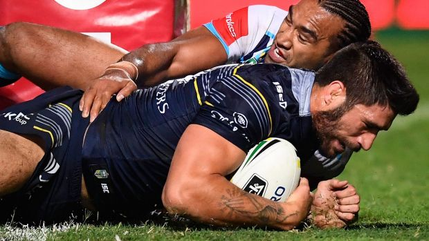 Points buffer: James Tamou extends the Cowboys' lead in Townsville.
