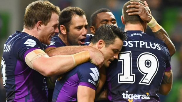 On top: The Melbourne Storm cruised to victory – and the minor premiership – on Saturday night.