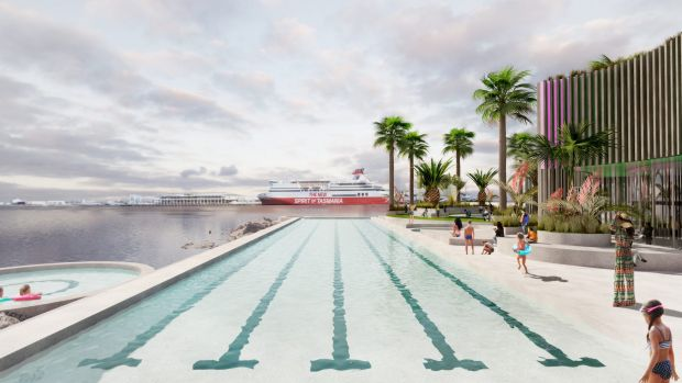 Artist's impression by Andre Bonnice of a proposal for a new pool in Port Melbourne, on the foreshore.