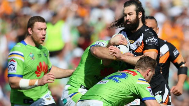 Blocked: Aaron Woods finds no way through at Leichhardt Oval.