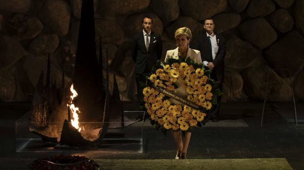 The Foreign Minister of Australia Julie Bishop lays a wreath during a ceremony at the Hall of Remembrance at Yad Vashem ...