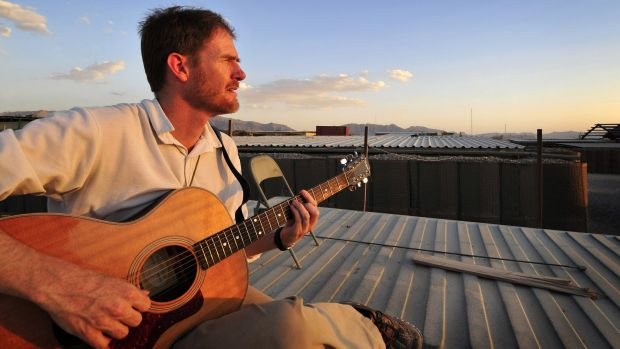 Afghan-based soldier/songwriter Fred Smith in Tarin Kowt, Afghanistan.