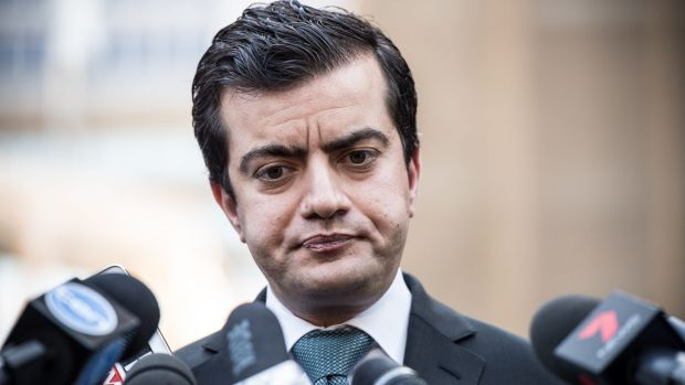 Senator Sam Dastyari as he tried to justify his actions at a 25-minute grilling earlier this week.
