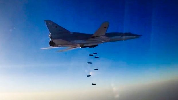 A Russian long range bomber flies during an air strike over Aleppo.