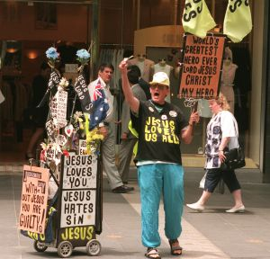 Fire and brimstone: Street preacher Desmond Hynes on a Melbourne CBD street in 1996.