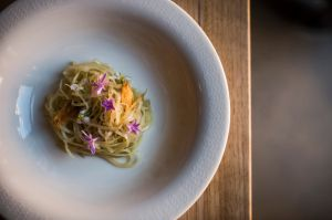 Aaron Turner creates brilliantly pared back dishes such as society garlic potatoes at Igni in Geelong.