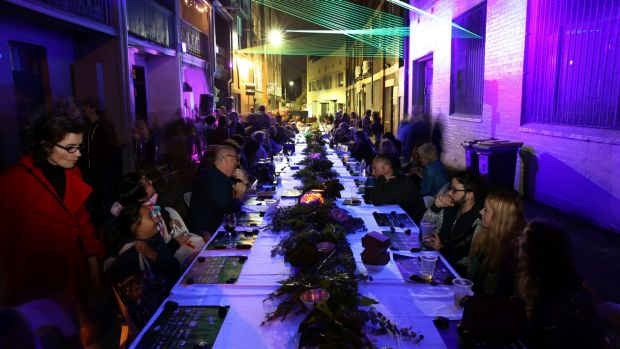 The street-long communal table at theBEAMS Arts Festival takes 12 months of hard work to set up.