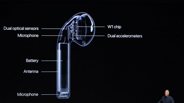 Phil Schiller, senior vice president of worldwide marketing at Apple, unveils the AirPods headphones during the Apple ...