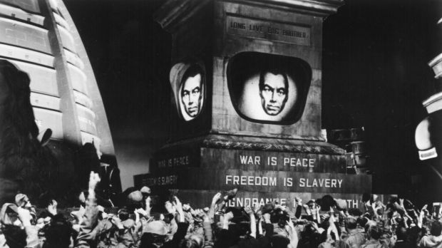 Fears of Russian domination marked the Cold War. Scene from a 1956 film production of George Orwell's <i>1984</i>.
