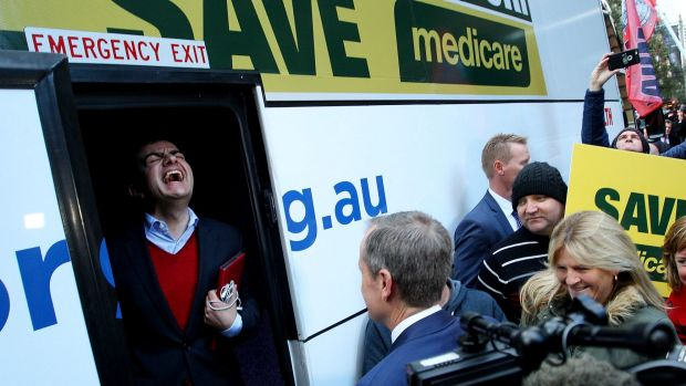 Senator Sam Dastyari on board Bill Shorten's campaign bus in Sydney.