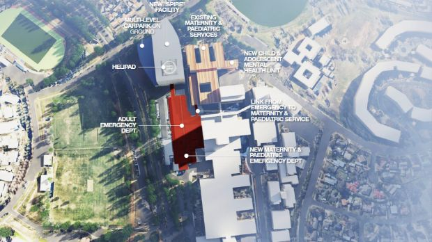 """A plan of Labor's promised expansion of the Canberra Hospital, with a new """"SPIRE Centre"""" at the Kitchener Street end of ..."""
