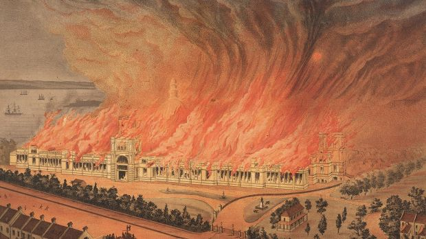 Up in flames ... A contemporary image of the Garden Palace burning.