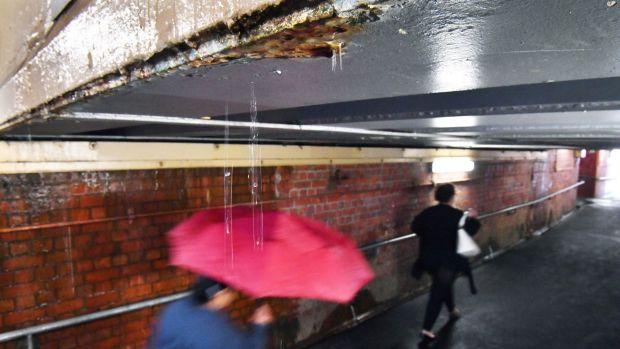 Oakleigh station underpass on Tuesday - a year after drainage issues were noted by Metro.